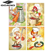 GOANG Diy 5d Diamond Painting Cross Stitch Cartoon Mosaic Pictures girl cooking Embroidery Paintings