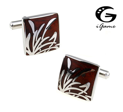 iGame Staineless Steel Cuff Links Wooden Bamboo Leaf Design Free Shipping