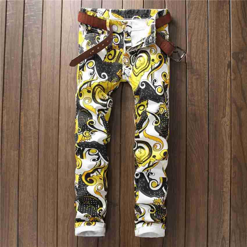 ФОТО #1535 2017 Korean Slim fit jeans men Fashion Motorcycle Mens designer jeans 3d print Mens printed jeans Biker jeans men