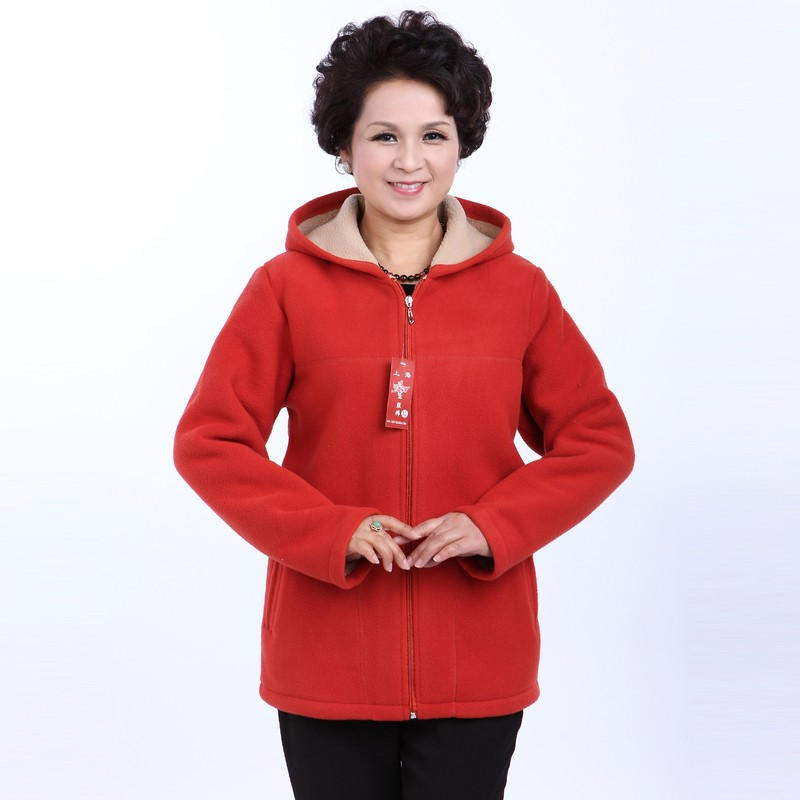 Winter Middle Aged Womens Hooded Imitation Lambs Fleece Jackets Ladies Warm Soft Velevt Coats Mother Overcoats Plus Size (14)