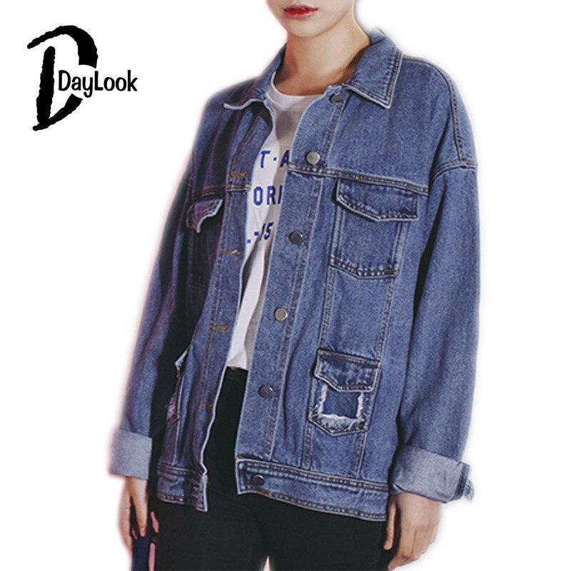DayLook DayLook Autumn Chic Single Breasted Jacket Vintage Holes Pocket Women Denim Jacket Classic Blue Jeans Denim Coat Loose Button Up