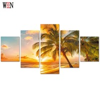 5 Piece Modern Picture Painting Sunset Seascape Beach Canvas Print Wall Canvas Art For Living Room