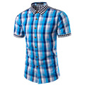2016 New Plaid Shirt Men Slim Fit Casual Short Sleeve Shirt Mens Famous Brand Hawaiian Dress Camisa Social Masculina M-3XL TU202
