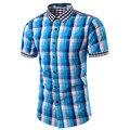 2016 Novos Homens Camisa Xadrez Casual Slim Fit Manga Curta camisa Dos Homens Marca Famosa Vestido Havaiano Camisa Social Masculina M-3XL TU202