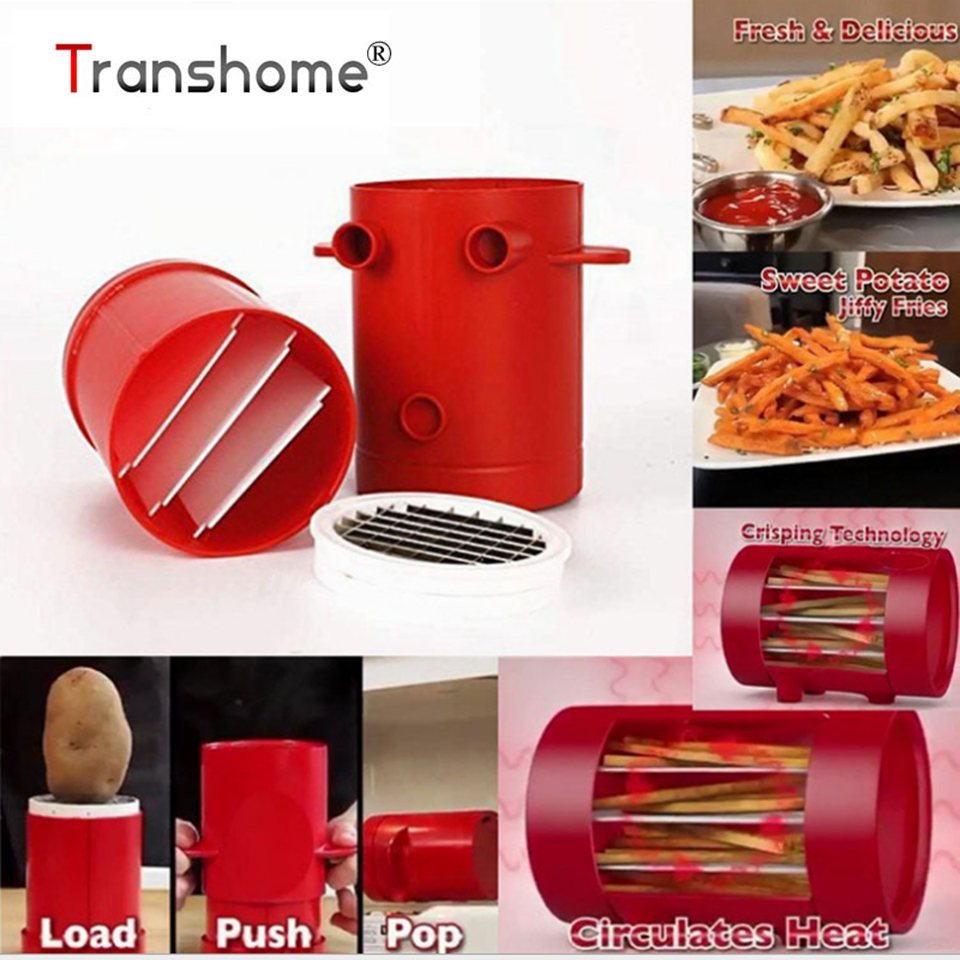 Transhome Copper Fries Potatoes Maker slicers French Fries Maker Jiffy Fries Cutter Machine Microwave Container 2-in-1 Wholesale