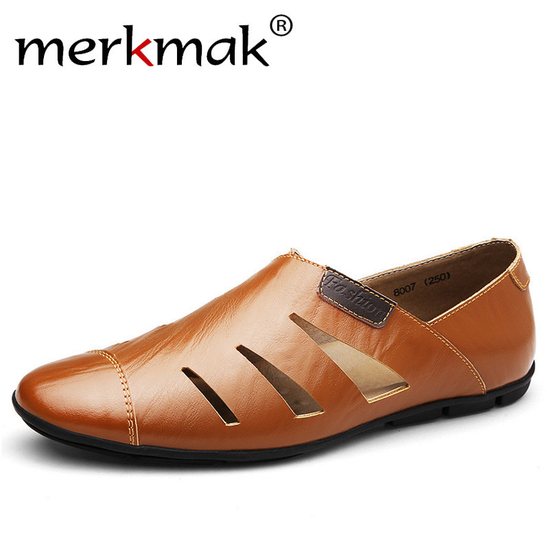 Merkmak Summer Handmade Genuine Leather Men Loafers Casual Luxury Brand Men Shoes Fashion Breathable Driving Shoes Plus Size 47 genuine leather men casual shoes summer loafers breathable soft driving men s handmade chaussure homme net surface party loafers