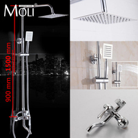 MOLI 1 Set Bathroom Rainfall Chrome Shower Faucet Set Mixer Tap With Hand Sprayer Wall Mounted