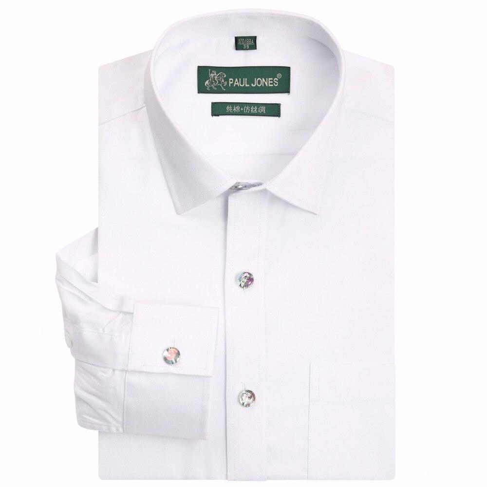 PAULJONES High Quality Long Sleeve Classic Men Dress Shirts Fashion Cotton White Black Social Business Shirt Male Work Clothing