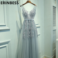 Vestido De Festa Sexy V Neck Evening Dress Robe De Soiree 2017 High Quality Grey Tulle