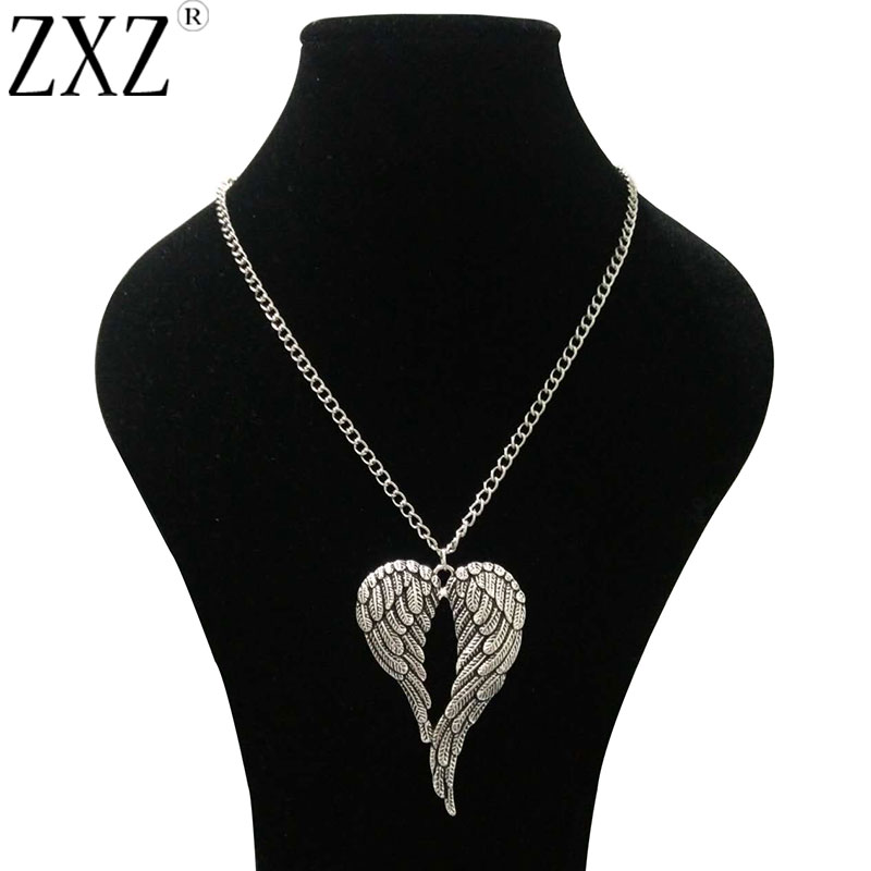 ZXZ Antique Silver Large Guardian Angel Wings Charm Pendant 69mmx47mm 30 Long Chain Necklace