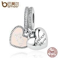 BAMOER Real 925 Sterling Silver Best Friends Soft Pink Enamel Clear CZ Pendant Fit Charm Bracelets