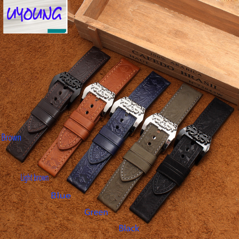 UYOGN Leather watch with retro to do the old embossed military table large table adapter PAM111 Benny 24MM male black brown blue the little old lady in saint tropez