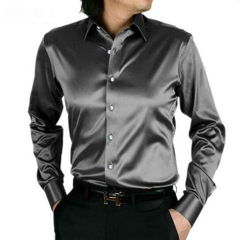 d87ab64bb8b Модные блестящие шелковистые атласные платье рубашка для выступлений  Роскошный шелк как с длинным рукавом мужские повседневные