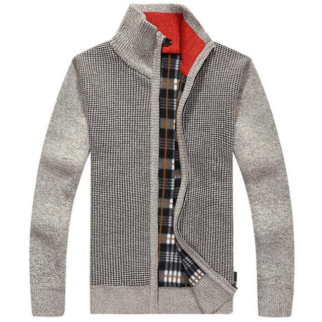 Caliente Suéteres de Invierno de Los Hombres Gruesos Calientes SweaterTops Cardigans Primavera Collar del soporte Abrigo De Lana Para Hombre de Algodón Fit Casual Prendas de Punto Abrigos