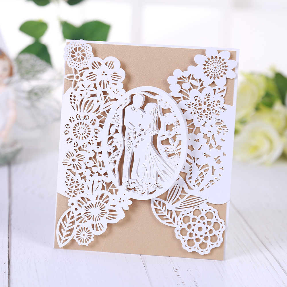 Wedding Invitations Lace Pattern Wedding Cards Laser Cut Paper Cards Announcement Greeting Postcards For Wedding Birthday Party