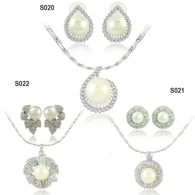 new fashion wedding jewelry sets necklace set with pearl mix style 8set/lot wholesale free shipping