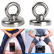 4 Sizes Strong Powerful Round Neodymium Magnet hook salvage magnet sea Fishing equipment Holder Pulling Mounting Pot with ring 66kg pulling force mounting magnet dia48mm magnetic lifting magnets strong neodymium permanent pot magnet