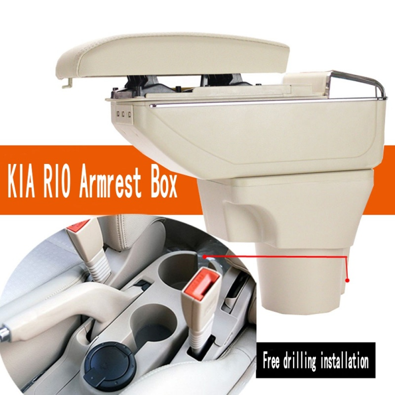 For Kia Rio armrest box central Store content Storage box kia armrest box with cup holder ashtray products USB interface for chery tiggo 2 3x 2016 2017 2018 armrest box central store content box with cup holder ashtray decoration with usb interface