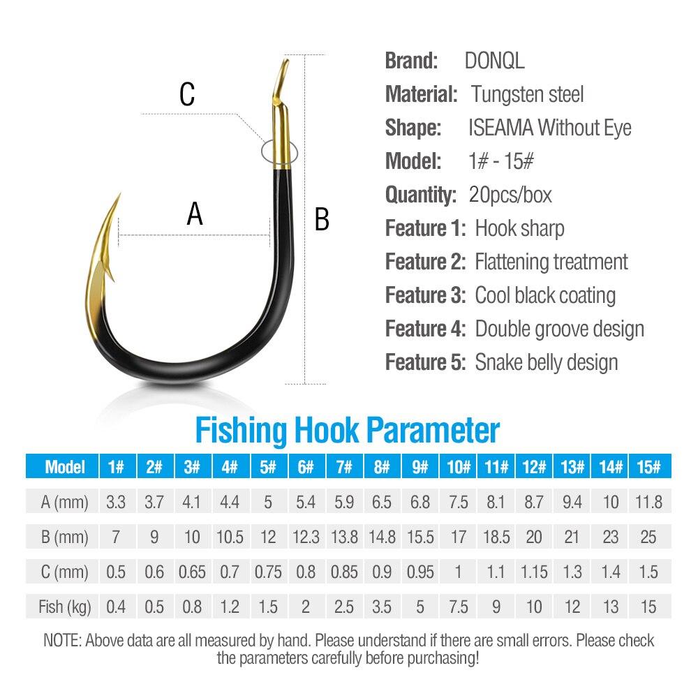 DONQL 20pcs Set Barbed Fishing Hooks Single Circle Fishinhook Tungsten Steel Carp Fishing Hooks Sea Accessories Tackle     (5)