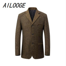 AILOOGE 2017 Men Casual Suits Spring Brand Business Clothing Thin Slim Cotton Woll Solid Blazer Tuxedo Formal Dress Men Suit Set