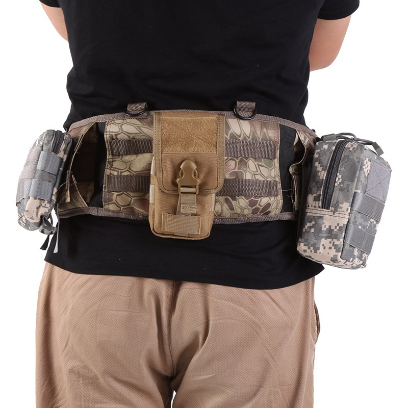 Men Outdoor Sport Molle Tactical Military Waist Padded Belt 600D Nylon Hunting Pack ...