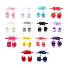 Flower Shoes&Band Baby Headbands Set For Girls Handmade Solid Elastic Chiffon Headwear  Photo Prop Newborn Hair Accessories