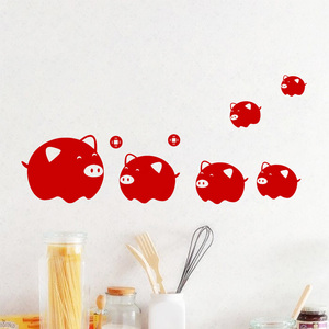 New year red pig Wall Sticker for Living room Glass window decoration for home art Decals wallpaper decoration stickers