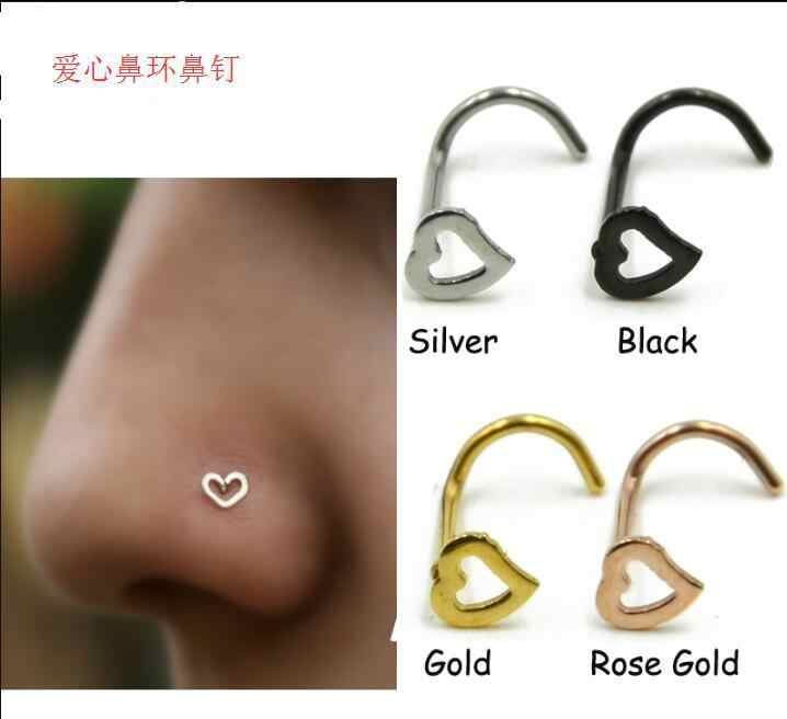 1pc Fashion Girl Body Jewelry Heart Stainless Steel Nose Ring & Studs Stainless Steel Nose Piercing Punk Party body Jewelry