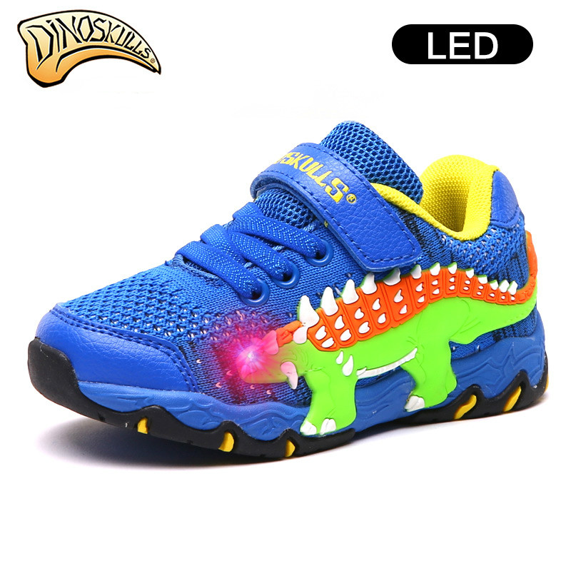 Dinoskulls Kids Shoes Childrens Dinosaur LED Light Up Shoe Baby Boys Mesh Spring Autumn Casual Sport Shoes Breathable 27-34#Dinoskulls Kids Shoes Childrens Dinosaur LED Light Up Shoe Baby Boys Mesh Spring Autumn Casual Sport Shoes Breathable 27-34#