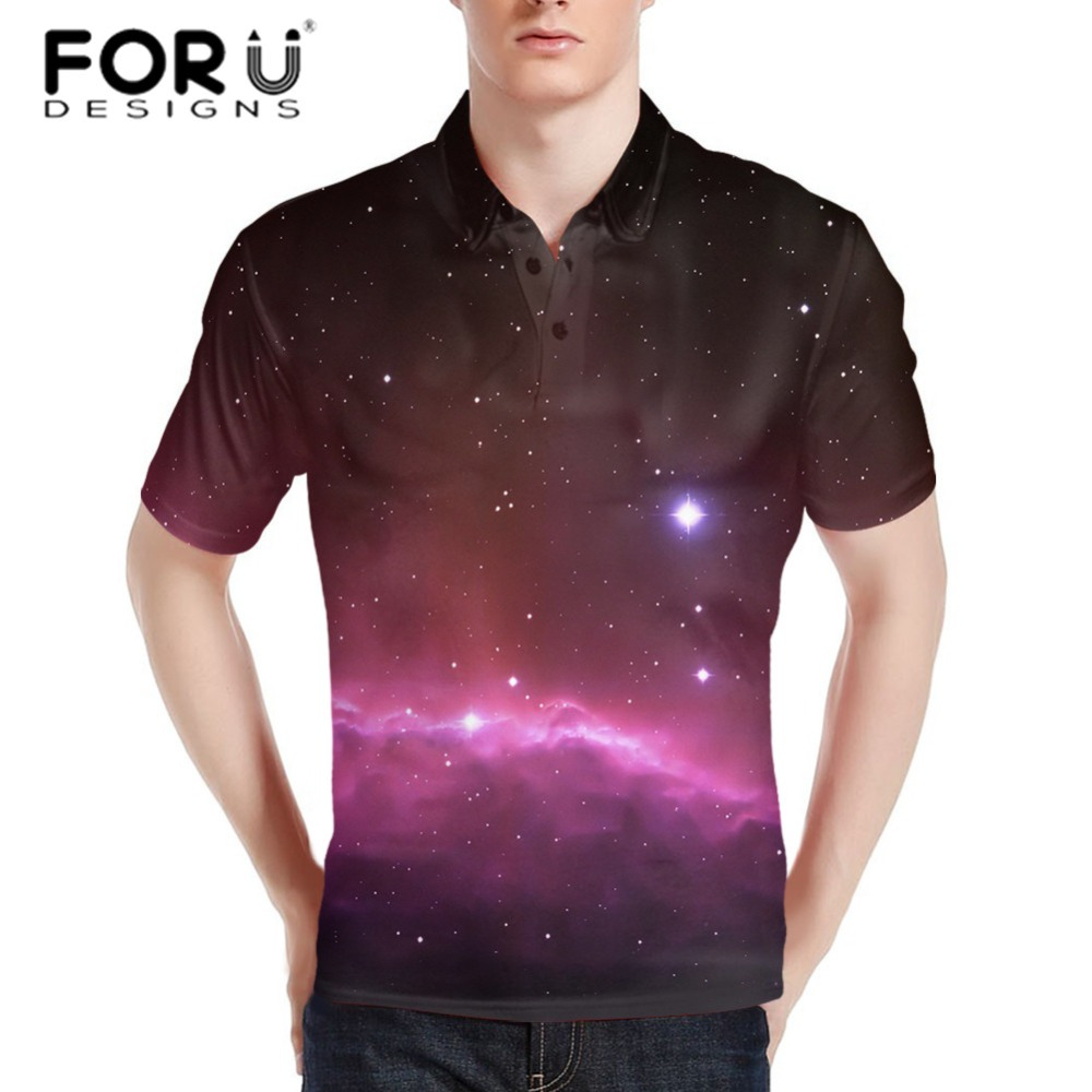 FORUDESIGNS Men's Horse Print Polo Shirt Male Summer Short Sleeve Party Colorful Tee Stylish Loose Fit Tops XS S M L XL XXL XXXL