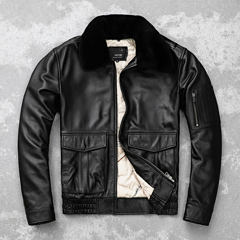 HARLEY DAMSON Black Men UASF Pilot Leather Jacket Plus Size 5XL Genuine Wool Collar Thick Cowhide Winter Aviator Leather Coat-in Genuine Leather Coats from Men's Clothing    3