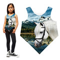 Girls t-shirt clothing kids Summer style nice The white horse printing teen brand Children tops baby fashion triangle t shirt
