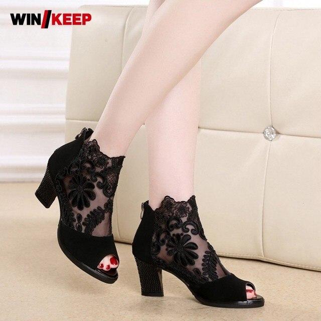 Women Floral Embroidery Block Med Heels Latin Dance Shoes Summer Peep Toes  Pole Modern Ballroom Fitness 25d151a4254b