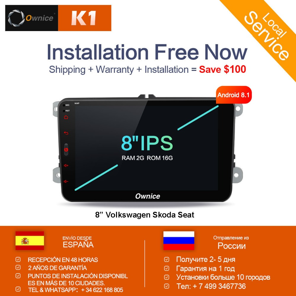 [Installation Service Livraison] Ownice K1 Android 8.1 mains libres bluetooth Universel 2 Din Voiture Radio GPS pour Volkswagen /Skoda/Seat