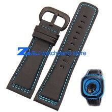Натуральная кожа ремешок для часов гладкий черный ремешок синий сшитые для пятницу просмотрам 28 мм мужские высокое качество часы полоса