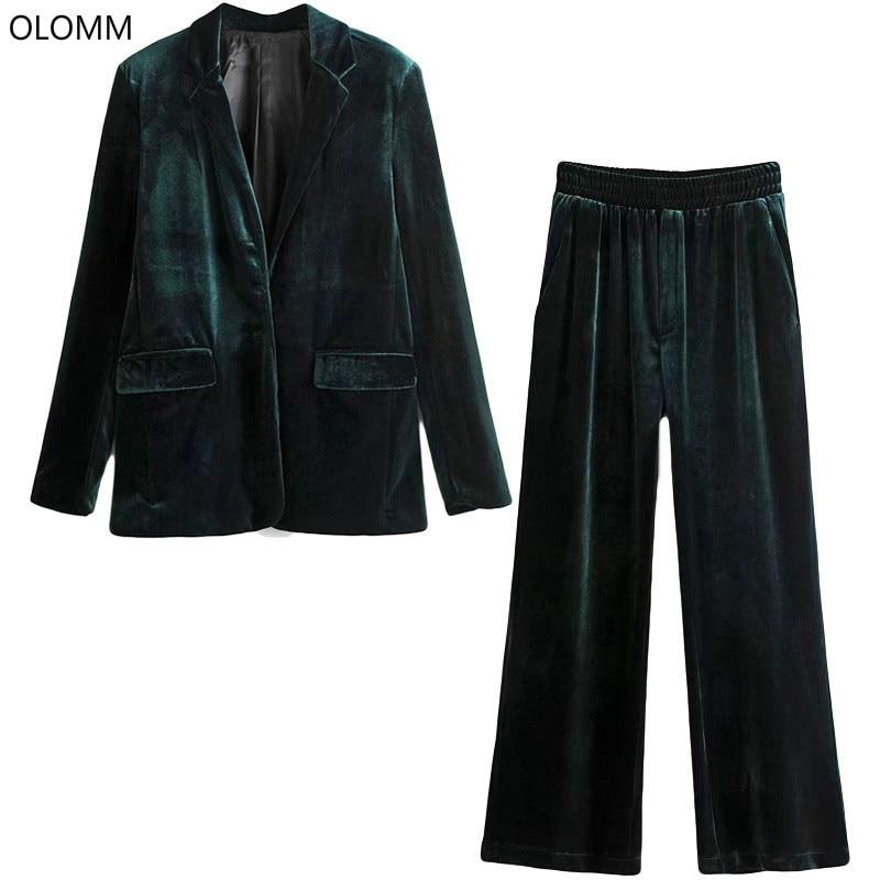 Women's Pantsuit Casual Solid Color Winter Gold Velvet Suit Jacket Set Female Fashion Trouser Suit Women's Suit 2019