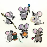 Set Of 6 Cute Mouse Sequins Patches Vintage Embroidered Applique T Shirt Coat Patch Sewing Garment