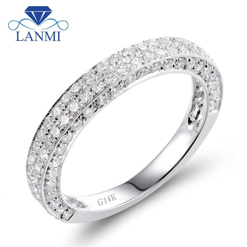 Bague de fiançailles en diamant naturel en or blanc 14kt pour Couple SR00121