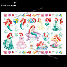 SHNAPIGN Lovely Mermaid Child Temporary Tattoo Body Art Flash Tattoo Stickers 17x10cm Waterproof Henna Tato Styling Wall Sticker