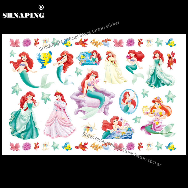 SHNAPIGN Lovely Mermaid Child Temporary Tattoo Body Art Flash Tattoo Stickers 17*10cm Waterproof Henna Tato Styling Wall Sticker