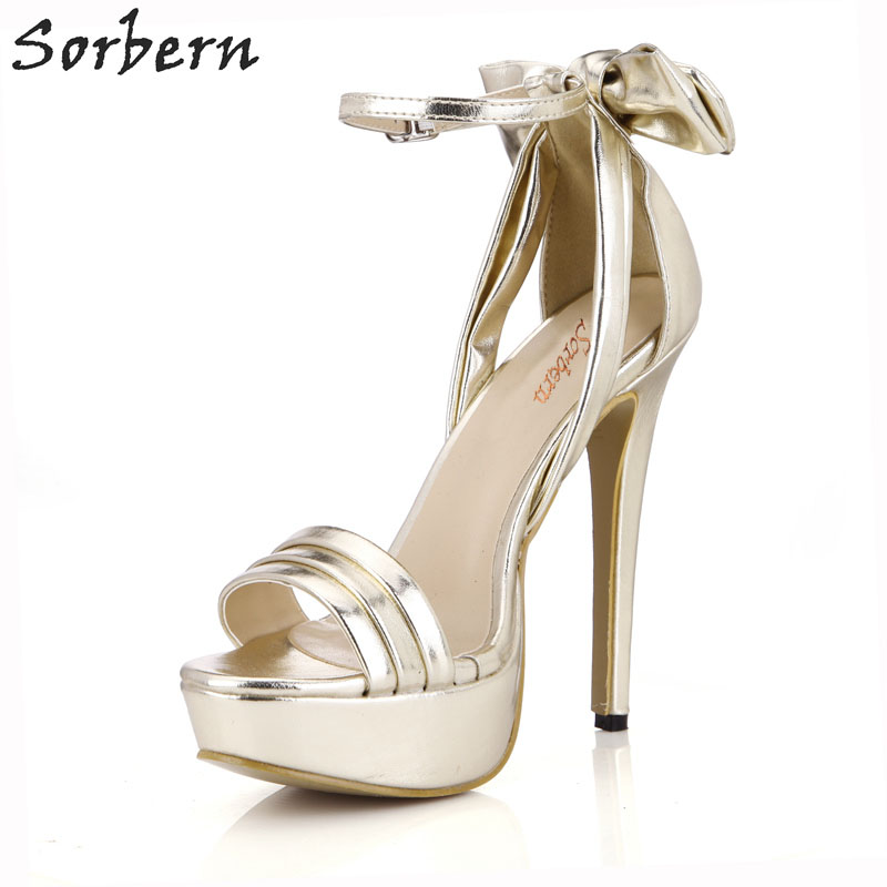 Sorbern Famous Brand Shoes Women Light Gold Open Toe Women Shoes Thick Heels Size 41 Platform Sandels For Women Cover Heeled ostin джемпер с аппликацией для мальчиков