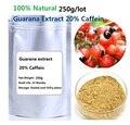Envío gratis 250 g/lote 100% Natural extracto de Guaraná 20% polvo de Cafeína