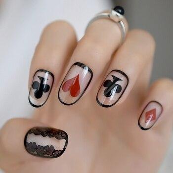 Uñas postizas ovaladas, medio claro, decoración de póker, puntas de uñas artificiales, arte de uñas Tranparents, encaje negro 24 Ct
