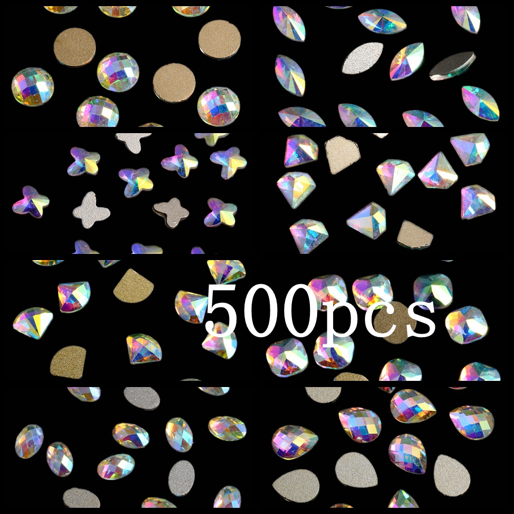 Craft Art Stone 500pcs Crystal AB Glass Rhinestone For Nail Art Decorations Flatback Nail Stickers DIY Stones 100pcs diy nail rhinestones for nails 3d nail art crystals gems charms decorations flatback drop glass strass stone jewelry ab