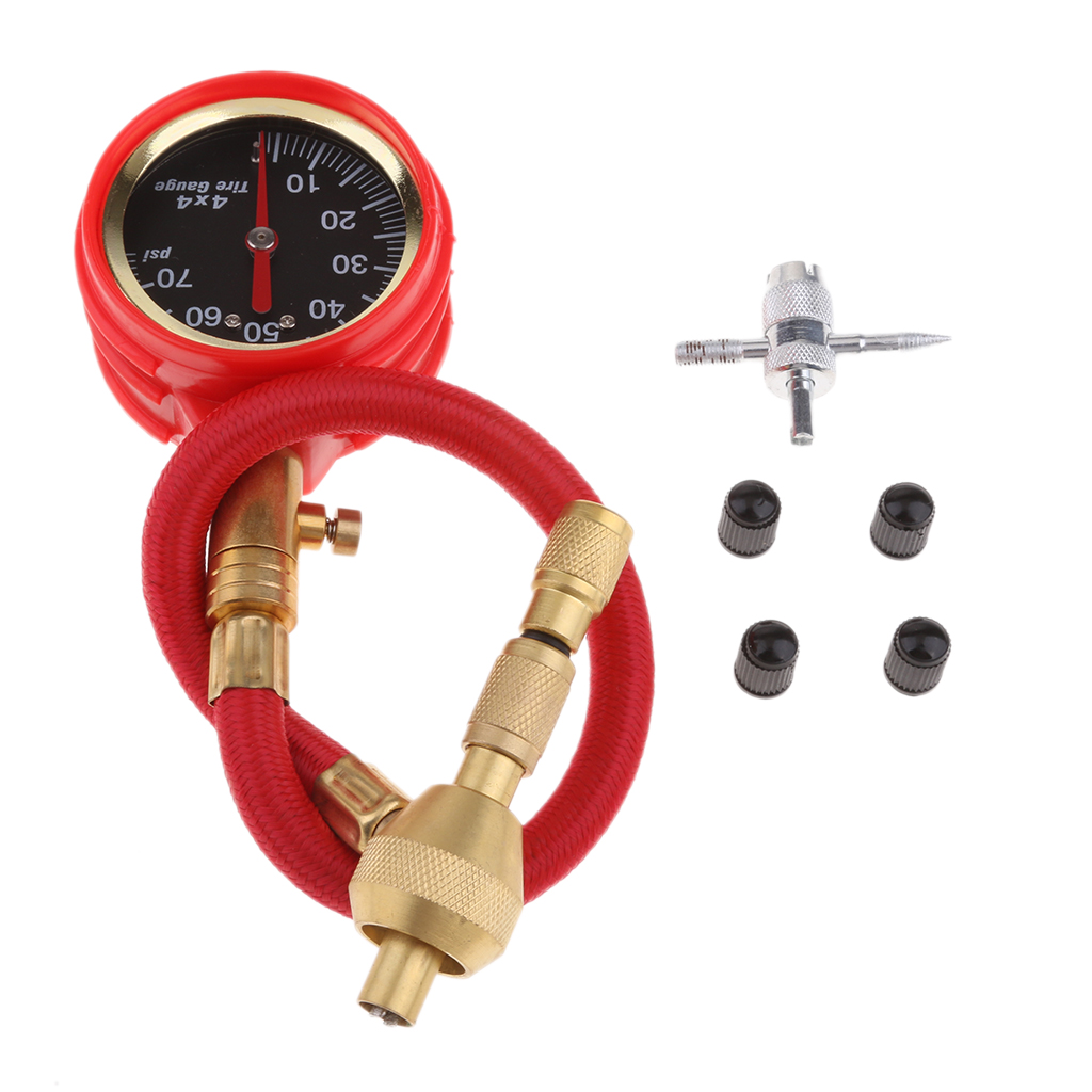 Red 70PSI Rapid Tyre Air Deflators Rapid Tire Deflator With Pressure Gauge 4 Valve Caps Tool Kit Tire Accessories Dropshipping
