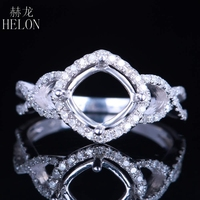 HELON 6.5 7.5mm Cushion Cut Solid 14K/585 White Gold Engagement Wedding Trendy Jewelry 0.3ct Real Natural Diamonds Halo Ring Set