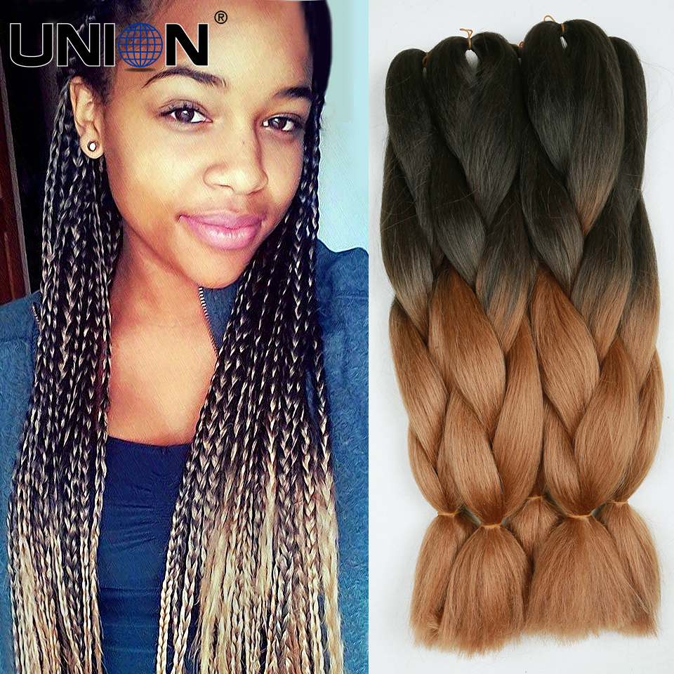 24inch 100gram Black Grey Ombre Kanekalon Braiding Hair Jumbo