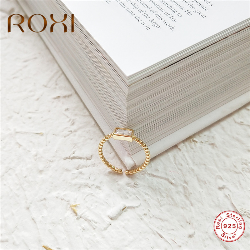 ROXI S925 Sterling Silver Ring Gold Bead Square Zircon Rings for Women Adjustable Size Finger Ring Party Jewelry anillos mujer(China)
