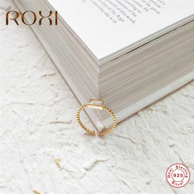 ROXI S925 แหวนเงินทองลูกปัดสแควร์Zirconแหวนปรับขนาดแหวนนิ้วมือเครื่องประดับAnillos Mujer