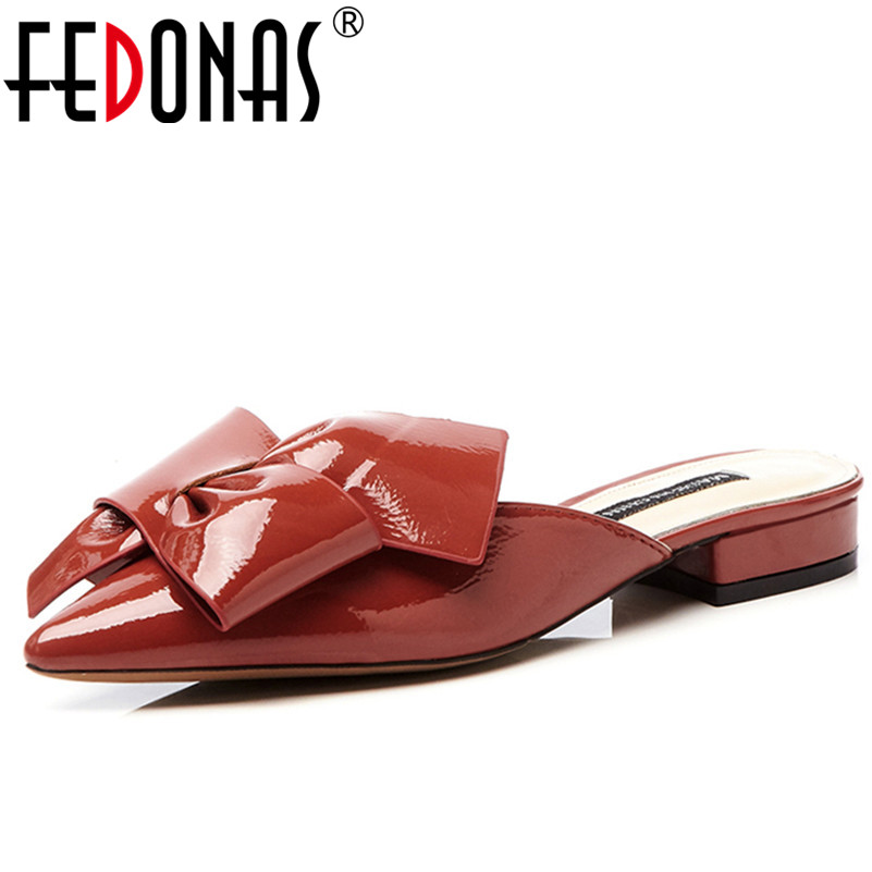 FEDONAS Women Low Heels Summer Shoes Woman Top Quality Cow Leather ButtflyKnot Beach Shoes Fashion Comfortable Rome Sandals